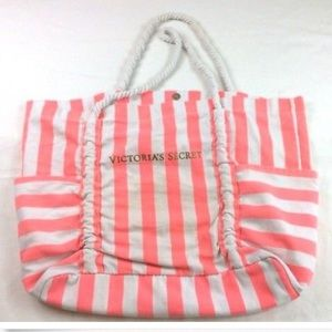 VS XL Canvas Tote w/ Pockets - Hot Pink Stripes